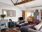 Relaxed lounge with woodburner
