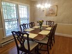 Dining room table - seats 6 (with 2 additional chairs found in hall closet)