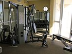 Free weights and lifting machine to cover all exercises for a full-body workout.