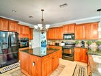 The expansive gourmet kitchen is a true dream for chefs!