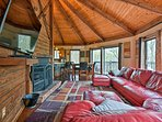 The pine-paneled walls enhance a cozy mountain atmosphere.