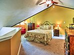 Upstairs, you'll find the master bedroom with a queen-sized bed for 2.
