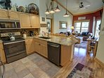 Stainless steel appliances in the updated kitchen.