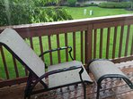 Reclining patio chair and ottoman. Lay back, relax and soak up the sun