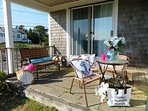 covered patio off back with picnic table and gas grill - 46 Little Beach Road Chatham Cape Cod New England Vacation...