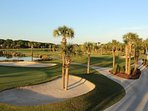 Expansive patio panorama, view east, of 18th fairway with glimpse of 10th tee and fairway in distance.