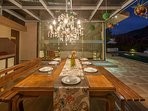 Dining Area with a Chandelier