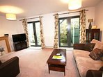 Warm and inviting carpeted lounge