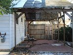 Backyard patio with cover.