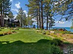 The soft grass is perfect for a game of croquet or bocce right on the lake.