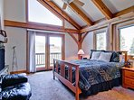 The upstairs bedroom #3 has a king bed, nice views, and shared Jack-n-Jill bath.