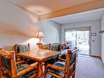 The downstairs table is a great place to play cards. This area also has a queen sleeper sofa and rollaway twin in the...