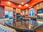 This amazing kitchen is well stocked and allows you to show off your culinary skills.