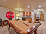 The wet bar in the game room will save you a trip to the kitchen.