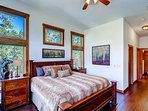Master bedroom sleeps 2 on a luxury king bed. Bathroom shared with upstairs queen bedroom.
