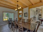 The dining room opens to the billiards room, and the real wood ceilings give Sierra Keys Manor a true 'Tahoe Cabin...