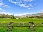 In the summertime, the ski run turns into a driving range right in front of your home away from home!