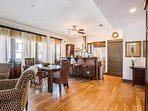 The wood floors are gorgeous and make the room feel very spacious.