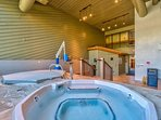 The hot tub has plenty of room for your whole party.