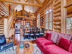 The open concept floor plan, with log cabin feel, makes this home a great mountain getaway.