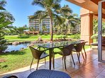 There's plenty of room to eat dinner out on the lanai at the table for four.