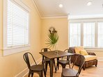 The dining area in the carriage house is perfect for smaller gatherings.