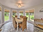 Enjoy a family-style meal at the large dining table.