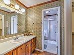 Rinse off in the master en-suite's walk-in shower.