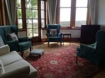 Living room with French doors out to the garden