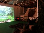 Choose from an endless selection of vacation themes and movies to watch on the 13 ft movie screen!