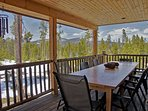 Main level covered deck and outdoor dining area
