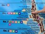 Close up of the La manga strip map. Fins Arpon 91b at KM 4