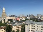 Panoramic view of the Foreign Ministry Stalin's skyscraper, high-rise buildings of Novy Arbat