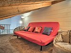 The loft boasts a pullout couch.