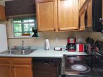 Fully stocked kitchen to cook in offers the option to save money and spend time together.