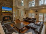 The wood-burning fireplace that adds a true mountain feel to Glen Eagles Manor