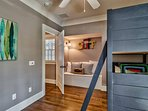 The kids will love the bunk bedroom, also located on the upper level.