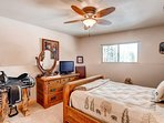 Giddy-up in this lower level bedroom with a full bed and TV with DVD capabilities.