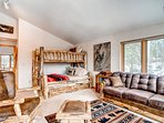 The loft area is also home to an authentic log captain's bunk. We don't think you'll get any arguments from the...