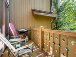 Fire up the grill and lounge on the adirondack chairs made from old skis