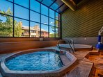 Simmer in the Cimarron hot tub while you enjoy the view of Breckenridge.