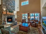Detailed masonry and towering ceilings give the main living space a larger than life atmosphere.