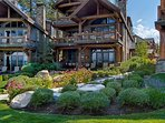 A gently winding walkway leads from the on site check-in office directly to the shores of Lake Tahoe.