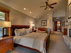 The extra large Master Bedroom #1 (upper level) has a king bed with premium bedding, its own fireplace, a private bath...