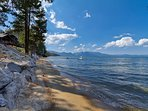 The crystal clear waters of Lake Tahoe are just steps away...