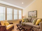 The carriage house attached at the second floor of the home has its own private living space.