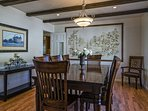 There's a formal dining room with seating for 8 that faces the front courtyard.