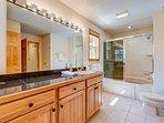 The main level bathroom has a tub/shower combination.