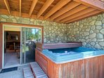 Relax with 5 of your besties in the private hot tub.