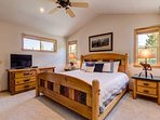 The master bedroom (#1) features a king bed with flatscreen TV, and a private bath.